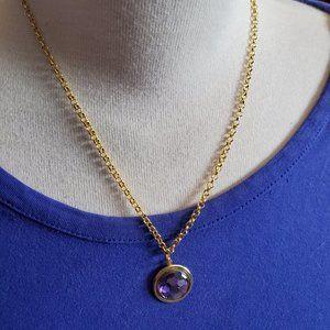 """16"""" Gold Tone Purple Circle Disc Pendant Necklace"""